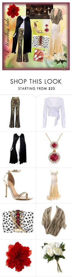 """""""Timeless looks for a timeless tale"""" by style-a-la-chez ❤ liked on Polyvore featuring Disney, Sania Studio, Valentino, Allurez, ALDO, LUISA BECCARIA, GEDEBE, Gucci, National Tree Company and BeautyandtheBeast"""