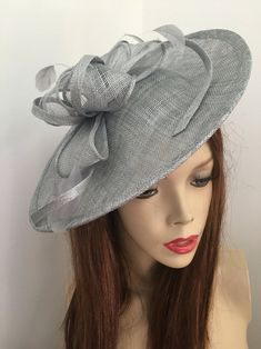 Fascinator Hat silver Grey Saucer headpiece on hairband   Etsy Silver Fascinator, Fascinator Hats, Headpiece, Wire Headband, Silver Headband, Wedding Hats, Formal Wedding, Hat For The Races, Mannequin Heads