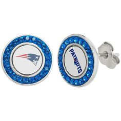 New England Patriots Crystal Team Logo Stud Earrings (Blue) ($75) ❤ liked on Polyvore featuring jewelry, earrings, blue, crystal jewellery, blue crystal earrings, crystal jewelry, blue earrings y stud earring set