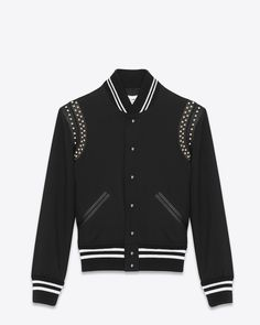 Saint Laurent Classic TEDDY Studded Jacket In Black Wool Gabardine And Leather | YSL.com