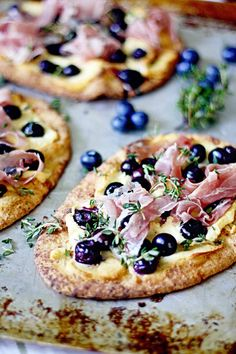 Blueberry Pizza with Honeyed Goat Cheese and Prosciutto.