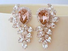 Blush bridal earrings,Bridal earrings,blush pink chandelier earrings,Extra large stud earrings,Swarovski earrings,cluster earrings,statement