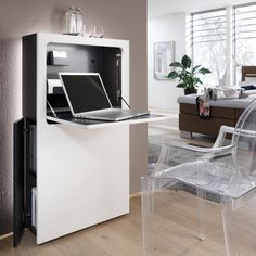 The modern and narrow secretary in white or black is the ideal desk! It can be staged in the bedroom, living room or even in the hallway! Source by midlifeboom Small Office Desk, Desks For Small Spaces, Office Spaces, Home Office Design, Home Office Decor, Home Decor, Latest Bathroom Designs, Study Table Designs, Desk Inspiration