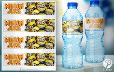 Minions Birthday Water Bottle Labels INSTANT by prettypixelstudio