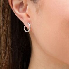 Marilyn Monroe Collection 1/4 CT Journey Diamond Hoop Earrings 14k White Gold FN | eBay