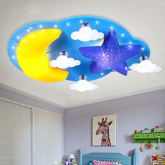 Cheap girls room ceiling light, Buy Quality room ceiling lights directly from China ceiling lights Suppliers: boy LED children's room bedroom ceiling lamp warm personality minimalist eye lamp cartoon star moon baby girl room ceiling light