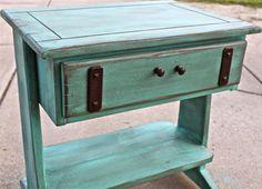 Vintage Aquamarine Night Stand /Distressed Glazed Furniture /Brown Knobs/ Distressed  Bedroom Furniture /Side, End Table /Tv Stand /Storage