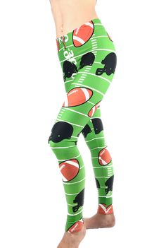 Football Leggings - Football Costume - SuperBowl Leggings - Sports Costume - Football Themed Leggings - Football Pants - Foot Ball - NFL Legging - Womans Football Leggings
