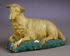 vintage chalkware lamb