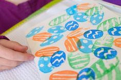 Potato Stampers: To create the stamps, cut some potatoes in half, then invited your child to add designs to the cut surface with a dull pencil. So cool.