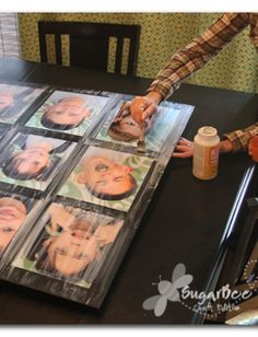 Here'a a tutorial on how to make this awesome wall photo display - - just mount the pictures and seal it with mod podge - - love this!!  Sugar Bee Crafts: Photo Wall Art - Portrait Display
