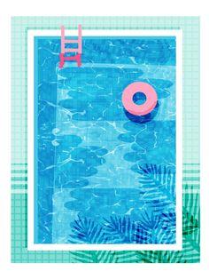 Chillin' - poolside palm springs vacation resort tropical swim swimming retro neon throwback 1980s Art Print