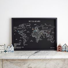 Personalized world travel map 36x24 large modern slate cork pin are you interested in our personalised framed world map with our travel world map pin board you need look no further gumiabroncs Image collections