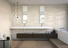 75x300x8mm, Gloss Pressed Edge Glazed Ceramic. Made in Spain. Wall Only. V2. 2mm Joint Recommended Tiles, Tile Stores, Lighted Bathroom Mirror, Subway Tile Colors, Bathroom Showrooms, Mosaic Backsplash, New Homes, Bathroom Mirror, Bathrooms Remodel