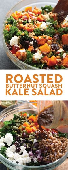 Make this Roasted Butternut Squash Kale Salad with Farro and Goat Cheese for a healthy, delicious dinner that's made with whole grains and tons of veggies! This yummy salad is gluten-free and vegetarian and one of the best high protein vegetarian meals ou High Protein Vegetarian Recipes, Healthy Salad Recipes, Veggie Recipes, Free Recipes, Healthy High Protein Meals, Vegetarian Soup, Vegetarian Meals For Dinner, Vegan Meals, Delicious Vegetarian Meals
