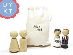Hochzeitsdeko - DIY-KIT Hochzeit Cake-Topper ♥ Tortenfiguren - ein Designerstück von frollein-feierlich bei DaWanda