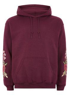 Burgundy Rose Embroidered Hoodie