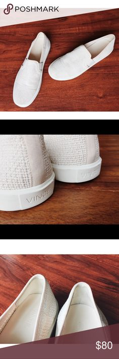 LIKE NEW VINCE. BLAIR LEATHER SLIP ON SNEAKERS 9.5 VINCE. Basket-weave canvas offer an updated version of an elegant streetwear style.  • BUTTER SOFT LEATHER INSOLES - ULTIMATE COMFORT. • Inset elastic panels lend a comfortable fit. • Leather-lined at heel and toe. • Rubber sole. • Beautiful cream / Taupe color. • In PERFECT condition. In sole still look BRAND NEW & bottom soles have NO holes or anything. Like new conditions! Only tried on for try ons! • Sz 9.5 • Please check out my store…