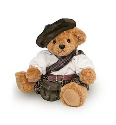 The Great British Teddy Bear Company... Highlander wears a  leatherette belt and sporran that fasten above his kilt. His clan sash is fastened with a pewter brooch and drapes across his cotton shirt. This handsome bear also wears a traditional Tam O'Shanta hat finished with a blue pom pom.