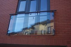 Semi-framed juliet balcony with glass infill panel. Galvanized and powdercoated steelwork in RAL 7015 grey. Glass Balcony, Balcony Doors, Bedroom Balcony, Balcony Railing, Bedroom Loft, Master Bedroom, Juliette Balcony, House Extension Design, Extension Ideas
