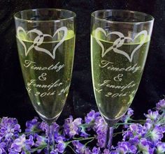 Personalized Champagne Flutes Custom Engraved Toasting
