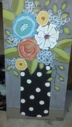 49 ideas wood art flowers paint for 2019 Acrylic Painting Flowers, Acrylic Art, Paint Flowers, Flower Paintings, Folk Art Flowers, Flower Canvas, Love Art, Diy Art, Flower Patterns