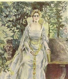 Elegant Victorian Woman Reading in the Garden by TheOldBarnDoor