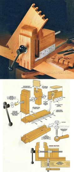DIY Bench Vise - Workshop Solutions Projects, Tips and Tricks. Workbench Plans, Woodworking Workbench, Woodworking Workshop, Woodworking Crafts, Woodworking Projects, Diy Bench, Bench Vise, Bois Diy, Homemade Tools
