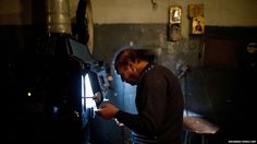 Inside the cinema projectionists booth in Kabul Afghanistan