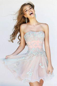 Pretty pink prom short dress