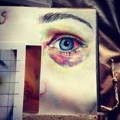 Bruised eye pencil crayon sketch portrait black eye a-level