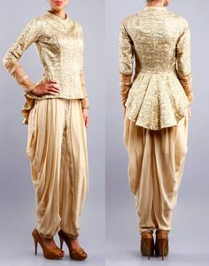 Golden Embroidered Net & Georgette Jacket And Dhoti , Bani Khurana