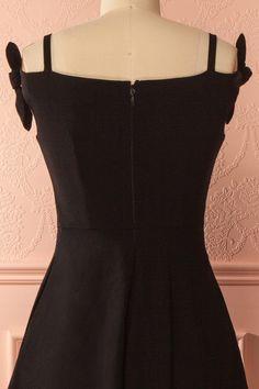 Kristin Black Off-Shoulder A-Line Dress | Boutique 1861