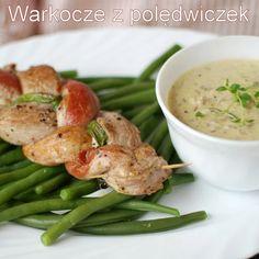 warkocze z polędwiczek Polish Recipes, Polish Food, Pork Loin, Green Beans, Shrimp, Chicken, Vegetables, Cooking, South Beach