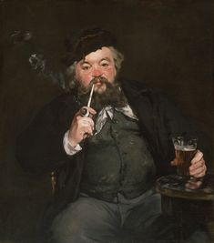 """Édouard Manet - Le Bon Bock [""""the Good Beer""""] or Portrait of of Émile Bellot - Manet's first celebrated work of art. It inspired all of France after it was unveiled at the Salon of Paris in 1872."""