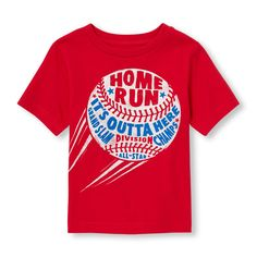 Toddler Boys Short Sleeve 'Home Run It's Outta Here Grand Slam Division Champs' Baseball Graphic Tee