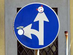 Clet Abraham, standing devil and a flying angel, via Borra, Livorno