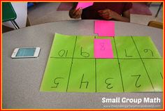 he Kindergarten Smorgasboard: I have several workmats that I made out of construction paper.  I programmed them with numbers to 10 (or 20) both in order and mixed up.  Students place number cards on the numbers.  We do this as a race.  The first time they do it, I time them.  Then they do it again and try to beat their time.  This has been a very effective game for my students who need a little extra help with numbers! Check his blog for how he does his math block.