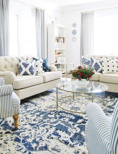 Blue And White Living Room, Blue And White Pillows, Tufted Couch, Serving Tray Decor, Thistlewood Farms, Blue Rooms, Home Decor Items, Decoration, Living Room Decor