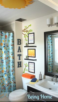 Boys Bathroom Makeover - After How our kids bathroom would look bc we have three girls and a boy!