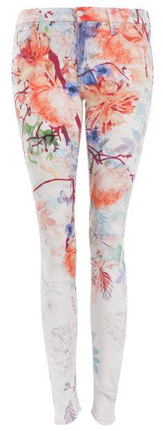 Printed Jeans: Auffällige Jeans in Weiß mit Print von Mother.
