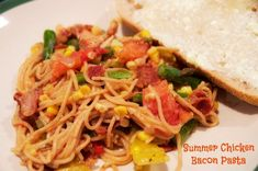 Summer Chicken Bacon Pasta recipe is packed with flavor and color with Corn and Asparagus too.