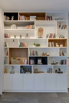 30 best bedroom cabinet design ideas 75 - boekenkast - Shelves in Bedroom Living Room Storage, Bedroom Cabinets, Home Library Design, Home Living Room, Home, Room Shelves, Living Room Shelves, House Interior, Home Office Design