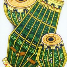 Indian Drums Marble Art - Indian instruments hand painted on marble make for a wonderful wedding or housewarming gift.