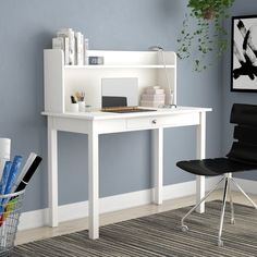Ebern Designs Bishopville Rectangular Desk with Hutch Great for Sauce Computer Desk With Hutch, Desk Hutch, Vanity Desk, Small Home Offices, Home Office Space, Hutch Furniture, Cute Desk, Wooden Wardrobe, Desk Inspiration
