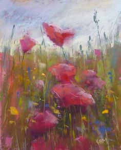 Paint Along Monday: Painting a Poppy Meadow, painting by artist Karen Margulis