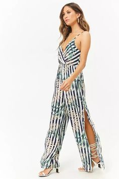 Product Name:Striped Leaf Print Surplice Cami Jumpsuit, Category:dress, Price:38