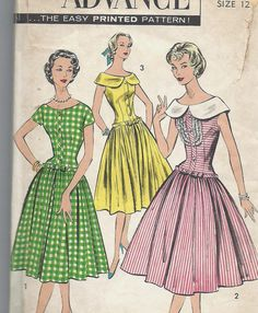 Darling Uncut Vintage 50s Sewing Pattern, Dropped waist dress, Advance 8575, Sz 12
