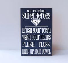 Super Hero  Bathroom Rules Subway Art Typography by vinylcrafts, $50.00