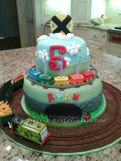 Coolest Train Birthday Cake... This website is the Pinterest of birthday cake ideas
